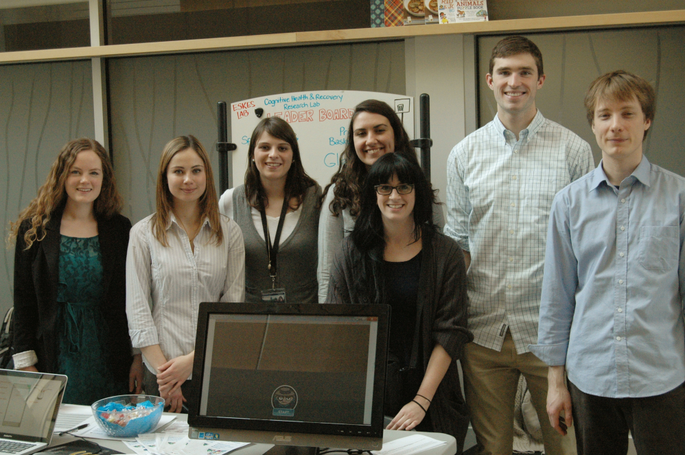Cognitive Health and Recovery Lab members at the Brain Fair as a part of the 2015 Brain Awareness Week!   From the left: Emily Keefe, Elaine, Skene, Franzi Kintzel, Sarah Dolan, Ashley Howse, Stephane MacLean, Jacob Kroeker.